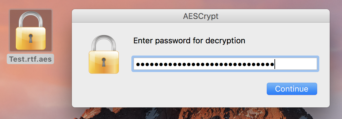 AES Crypt macOS decryption