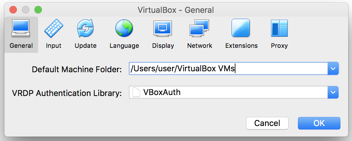 VirtualBox macOS logs settings