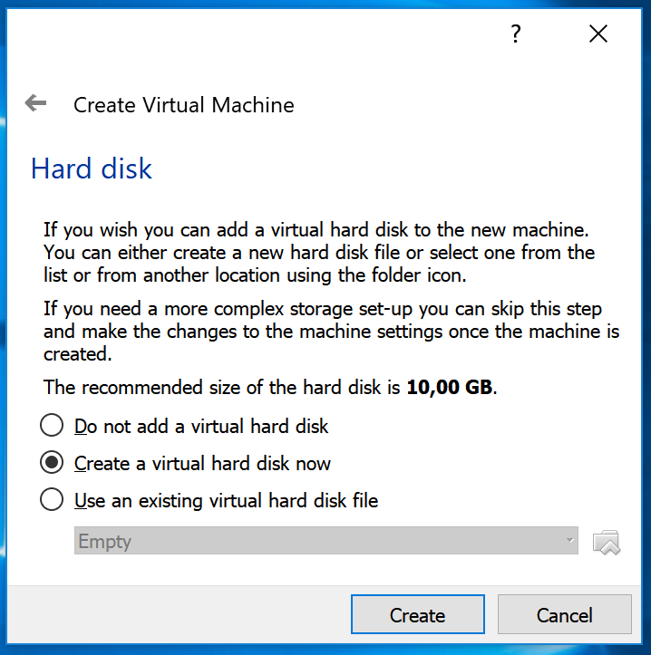 VirtualBox hard drive choose