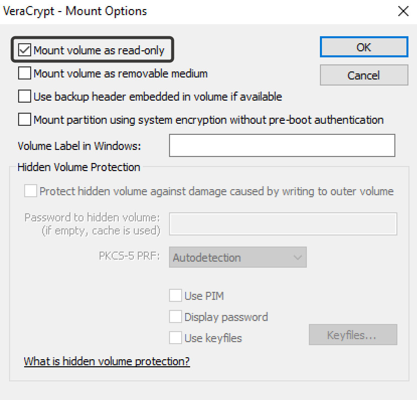Mount volume as read-only VeraCrypt